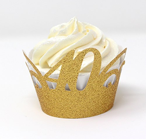 Cupcake Wrappers,12pcs (Glitter Gold) ()