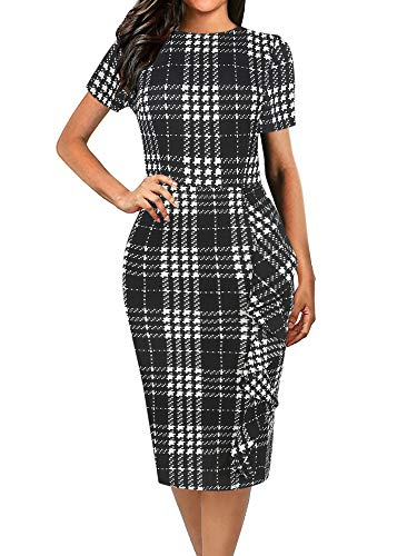oxiuly Women's Casual Classic Plaid Short Sleeve Round Neck Work Business Pencil Dress OX055 (S, Black Plaid)