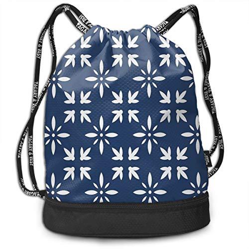 UauhOllxigm Modern Design Floral Image Leaves Rose Outdoor Bundle Backpack Drawstring Backpack Bags Pack Travel Sport Gym Sack Bag for Men/Women and Kids ()