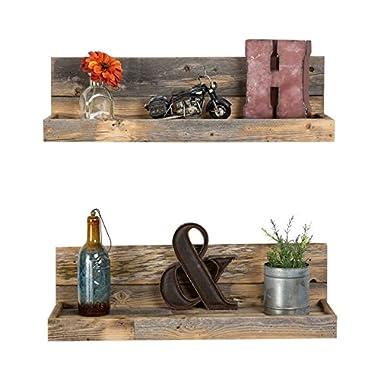 Reclaimed wood floating shelves - shallow depth - set of 2