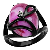 Pink Simulated Cats Eye ring designer fashion Stainless Steel Black finish
