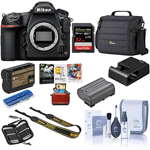 Nikon D850 DSLR Camera Body - Bundle with 32GB SDHC U3 Card, Camera Case, Spare Battery, Cleaning Kit, Memory Wallet, Card Reader, Mac Software Package
