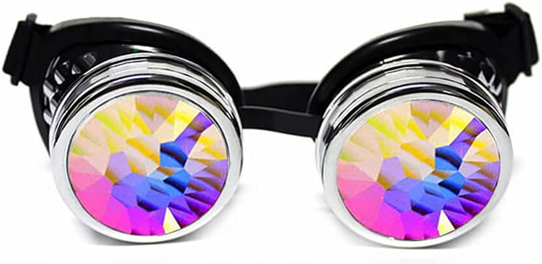 GloFX Padded Kaleidoscope Goggles – Prism Steampunk Cyber Real Crystal Rainbow Lenses