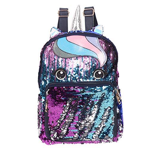 IEFIEL Cute Girls Flip Sequin Pony Backpack School Bag Cartoon Daily Backpack Purple&Blue One Size ()