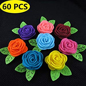 Coxeer Felt Rose Flowers, 60PCS Christmas DIY Rose Flowers Decorative Artificial Rose DIY Craft Flowers Valentine's Day Decor 25