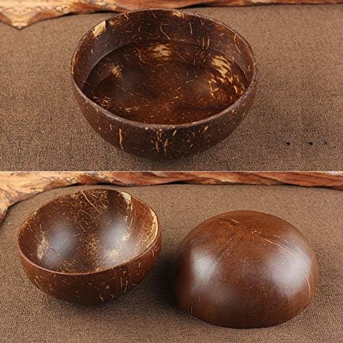 WE-WIN Bol de Noix de Coco et cuill/ères de Noix de Coco Naturel et respectueux de lenvironnement Cadeau v/ég/étalien Parfait