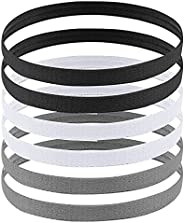 AvoDovA Sports Headbands, 6 Pcs Elastic Hair Bands with Non Slip Silicone Grip for Women Men, Stretchy Head Wr