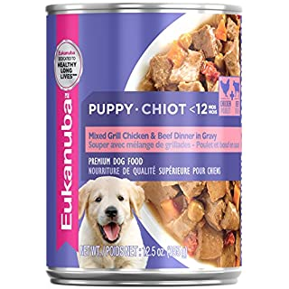EUKANUBA Puppy Mixed Grill Chicken & Beef Dinner in Gravy Formula Canned Dog Food, 12.5 oz Can (Case of 12)