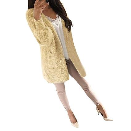 Abrigos para Mujer Chaqueta Outwear Abrigo de Invierno Moda Mujeres Casual Bolsillos de Manga Larga Jerseys