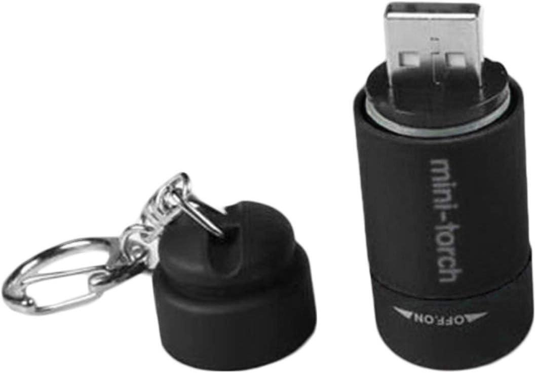 noir BIYI Portable Mini Porte-cl/és Torche USB Rechargeable Flashlight 0.5W 25lm Torche /Électrique Compact Camping Outdoor Flashlight