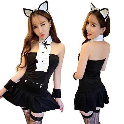 Alljoin Womens Black Sexy Lingerie Naughty Bunny Uniform Rabbit Uniform, One Size (WhiteBlack-2#) (Bunny Sexy Rabbit)