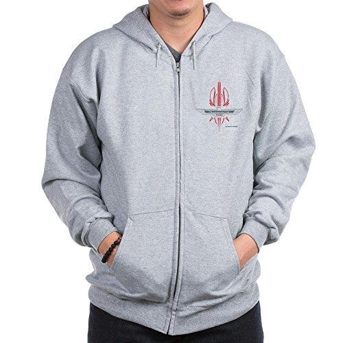 CafePress T Bird Emblem Pinstripes Zip Hoodie, Classic Hooded Sweatshirt with Metal Zipper Heather Grey