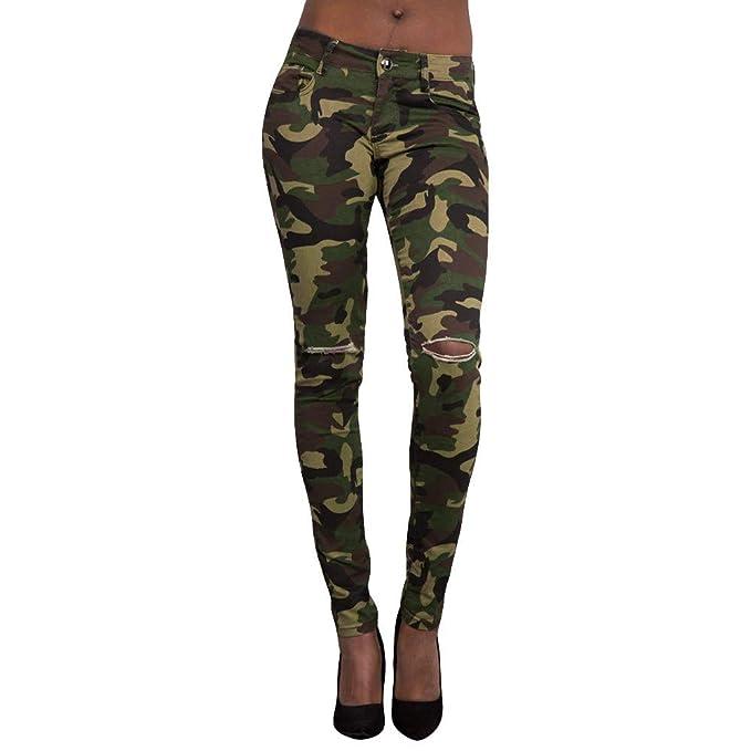 Pantalones para Mujer Slim Fit Transpirables Pantalones Largo Medio Talle  Flaco Camuflaje Agujero Tramo Delgado Becerro Pantalones  Amazon.es  Ropa y  ... d17c0e12a6d
