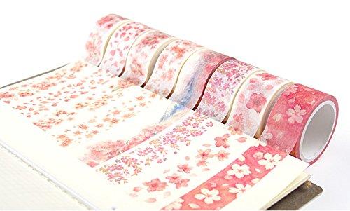 BCopter Washi Masking Tape Set, DIY Sticky Adhesive Paper, Colorful Decorative Arts Craft, Gift Wrap Scrapbook Bullet Journal Planner, Value Pack Hand Tear Writable (Sakura Pink)