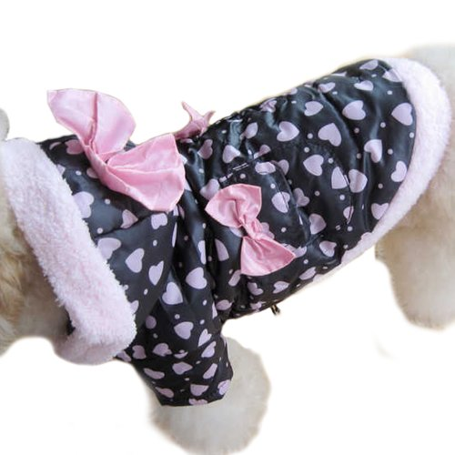 New Winter Coat Cute Pink Butterfly Tie Dog Warm Clothes Dog Apparel -size 2, My Pet Supplies