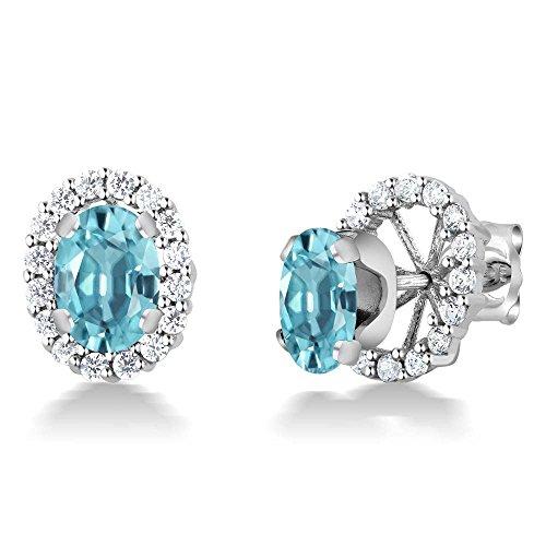 (2.40 Ct Oval 7x5mm Blue Zircon 925 Sterling Silver Stud Earrings with Jackets)