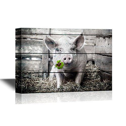 Pigs Pig with Lucky Four Leaf Clover on Wood Style Background