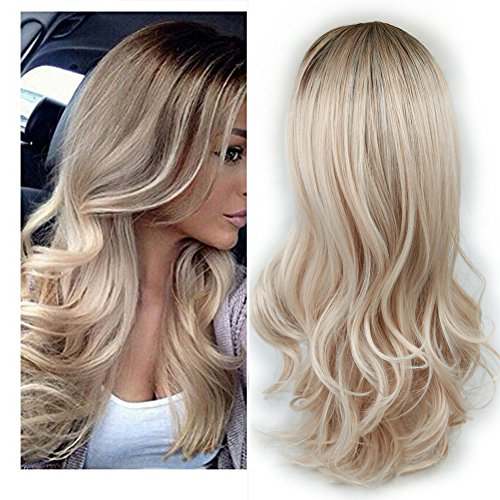 Lady Miranda Ombre Wig Brown to Ash Blonde High Density Heat Resistant Synthetic Hair Weave Full Wigs for Women(T/Ash Blonde) -