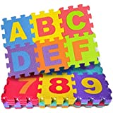 Sweethome Kid's EVA Foam 36Pcs/Pack Alphabet Numerals Crawling Mini Puzzle Mats (10 mm thick)