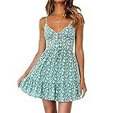 Libermall Women's Dresses Summer Sexy Sling Ruffle Floral Printed Beach Sundress Evening Party Club Midi Dress Green