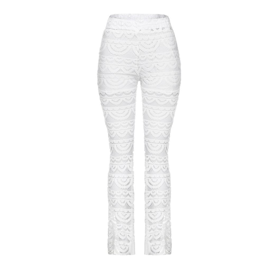 Dragon868 Pantaloni Donne, Taglie Forti Yoga Zampa Legging Pizzo Fiori Bianco Sport Palestra Elastica