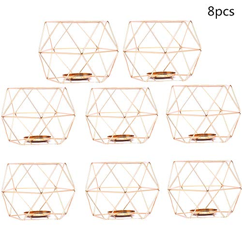 ZAILHWK 8pcs Geometric Candle Holder,Metal Candlestick Polished Tealight Candle Holder Table Top Centerpiece Weddings Events Parties Decor