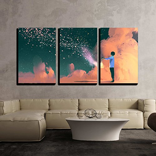 Art Cage Wall (wall26 - 3 Piece Canvas Wall Art - Man Holding a Cage with Floating Shinning Star Dust,Illustration Painting - Modern Home Decor Stretched and Framed Ready to Hang - 24