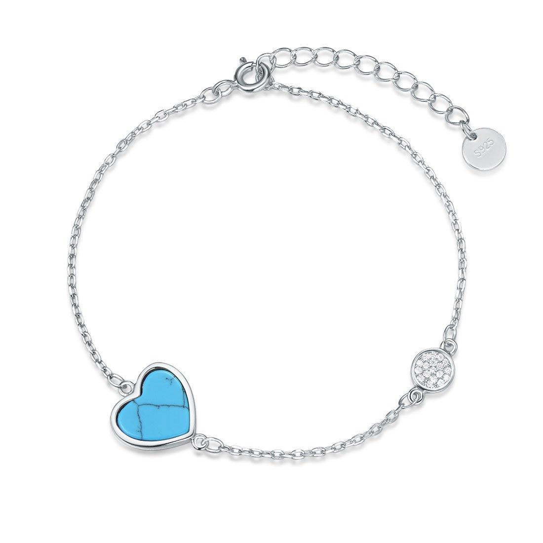 Agvana Sterling Silver Blue Heart Bracelets Cubic Zirconia CZ Created Turquoise Dainty Bracelet Gift for Women Girls 6.3''+ 1.4''