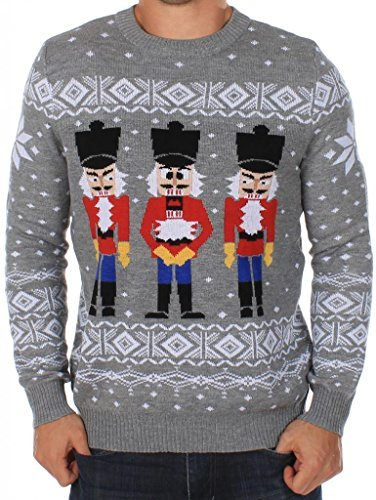 Tipsy Elves Men's Ugly Christmas Sweater - The Nut Cracker Funny Sweater Grey Size M ()