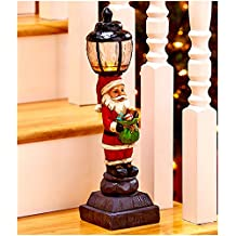 "Christmas Decorations Battery Operated Light Lamp Post Indoor Decor - 15-1/4"" Santa"