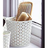 Curver Faux Rattan Dresser Storage Pot - Medium (Perfect For Hair Brushes) by Curver