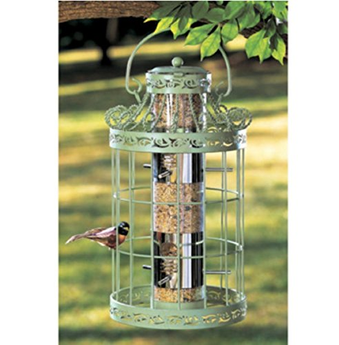USA Premium Store WILD BIRD SEED FEEDER EASY FILL GREEN COLOR SQUIRREL PROOF METAL BIRDFEEDER by USA Premium Store