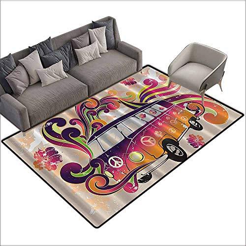 (Outdoor Kitchen Room Floor Mat Bohemian Hippie Boho,Peace Emblem Van Funny Minivan Explorer Caravan Paisley Antiqued Look Groovy,Beige Purple Orange Yellow Black 48