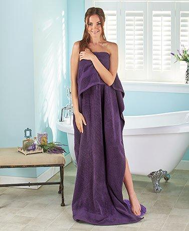 34'' x 68'' Oversized Zero Twist Cotton Bath Sheets (Plum) by Generic