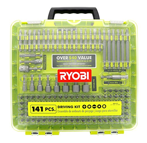10 Slot Power Bit (Ryobi A961412 141 Piece Driving Set with Carrying Case, Nut Drivers, and Socket Adaptors)