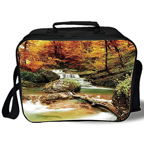 Waterfall 3D Print Insulated Lunch Bag,Autumn Seasonal Woodland Creek Trees Foliage Rocks in Forest Image,for Work/School/Picnic,Orange Green Light Brown