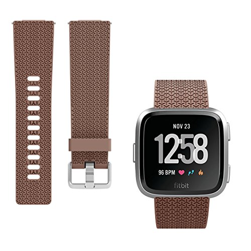 Kutop for Fitbit Versa Band, Soft TPU Replacement Sport Bands Classic Accessory Strap Fitness Wristband with Metal Buckle for Fitbit Versa Smart Watch Women Men Large Small,Coffee ()