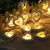 Nufelans Heart Shape String Lights LED Battery Light Strings Indoor Outdoor Decorative for Wedding/Party