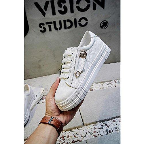 A0225 Plateformes Femme Boucle à de Baskets Chaussures Personnalisés Creepers KJJDE Accessoires White WSXY ZnOIxT