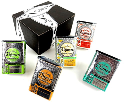 (Chimes Ginger Chews 5-Flavor Variety: One 2 oz Tin Each of Original, Orange, Mango, Peppermint, and Peanut Butter in a BlackTie Box (5 Items Total))