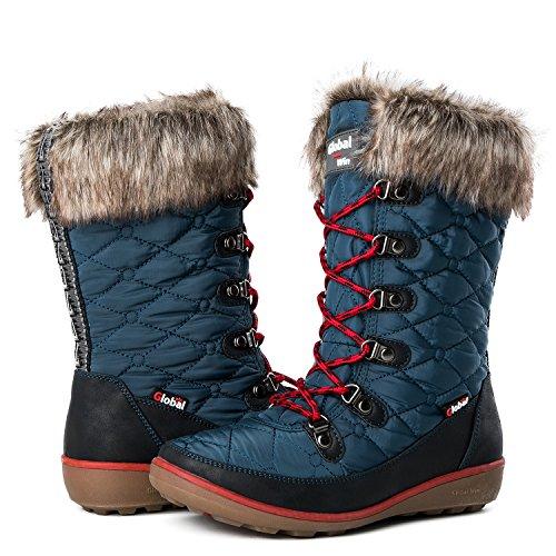 (Globalwin Women's 1731 Winter Waterproof Snow Boots (8.5 D(M) US Women's, 1731Blue))