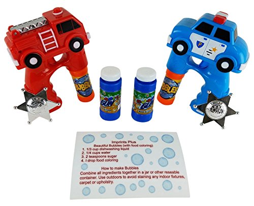 Guns for Kids with Light Up Police Car and Fire Truck Guns with Extra Bubbles and Colored Bubbles Recipe Card (11 Pc Bundle) ()