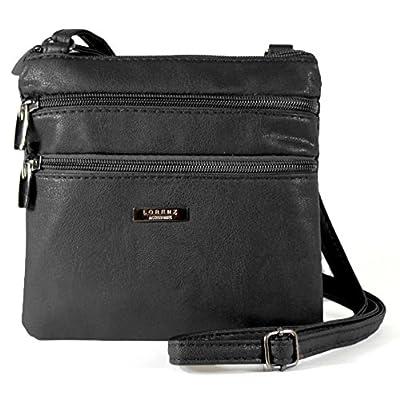 New Womans Leather Style Cross Across Body Shoulder Messenger Bag Zipped (Black) - cross-body-bags