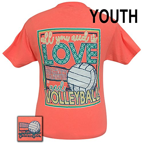 Girlie Girls All You Need Is Love and Volleyball Short Sleeve T-Shirt - Youth (Medium) (Volleyball Short Sleeve T-shirt)