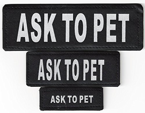 UPC 747719375776, Dogline ASK TO PET Patches For Vest, Harness or Collar with 3M Reflective Lettering and VELCRO BRAND Backing Service Dog, Therapy Dog, Emotional Support, PTSD Dog Patch Made in USA by Dogline