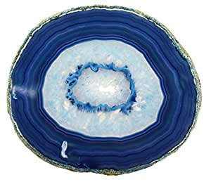 Amazon Com Large Blue Agate Slab 4 5 Inch Geode Slice