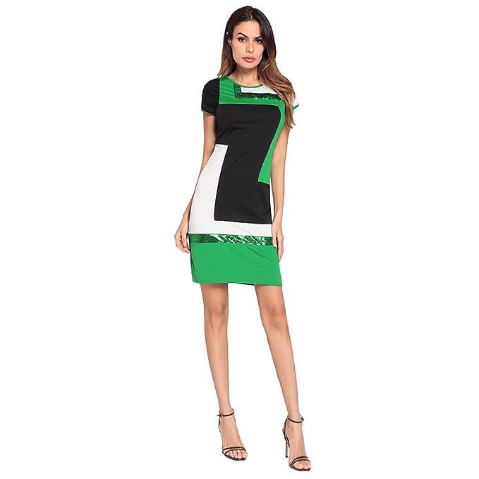 1a6a1ef04b YIHANGG Elegante para Mujer Verano Vestido Manga Corta Delgado Falda Lápiz  Lentejuelas Cóctel Casual Fiesta De