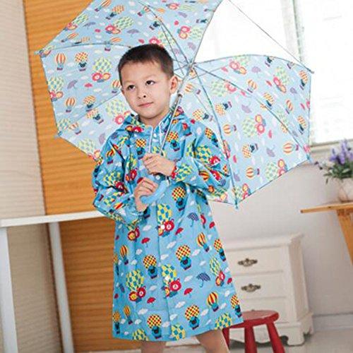 Highdas Niños Niños y Niñas Rainboot zapatos de lluvia impermeable botas de PVC rosa fresa / 18 cm Globo azul