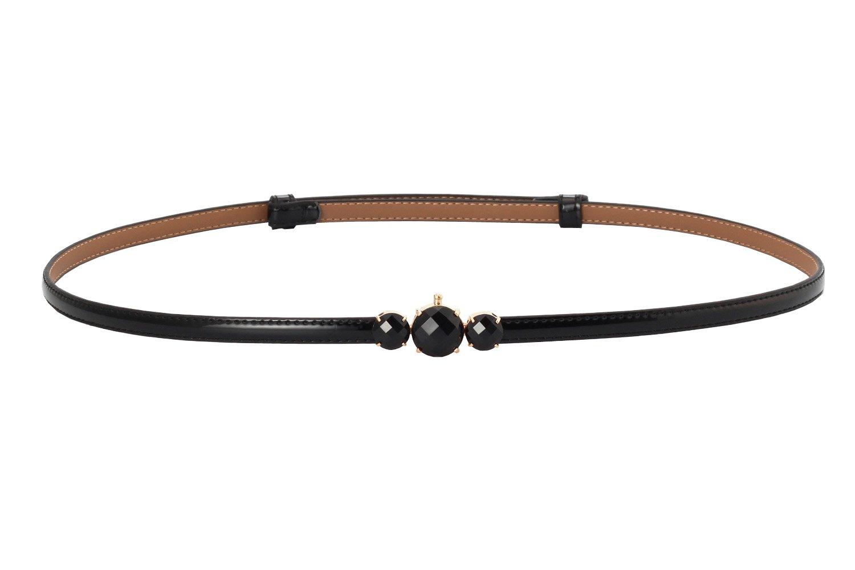 Aecibzo Women's Fashion Metal Buckle Thin Patent Leather Waist Belt For Dress (Black)