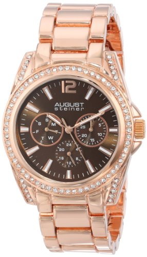 August Steiner Women's AS8075RG Quartz Multifunction Brown Dial Rose-tone Bracelet Watch